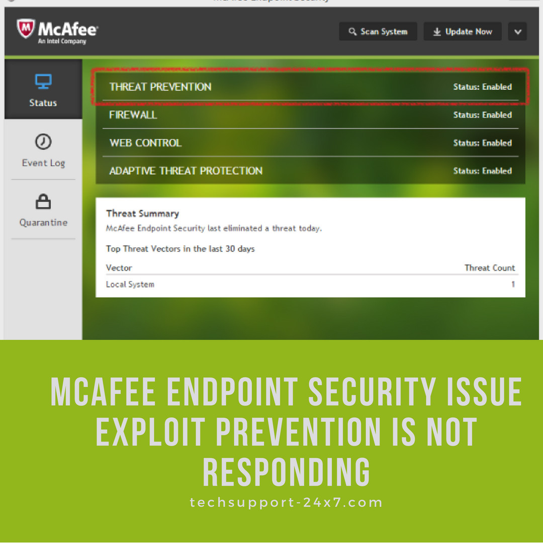 Mcafee Endpoint Security issue exploit prevention is not responding