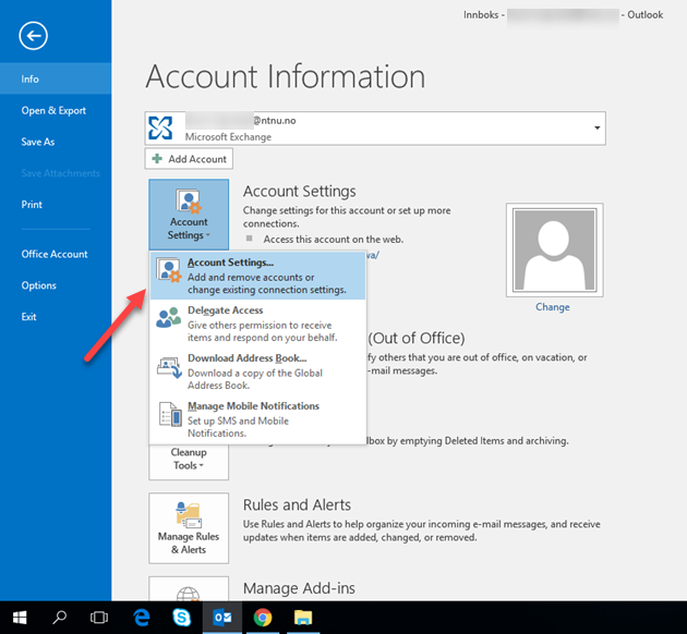 setup multiple email accounts in outlook 2016