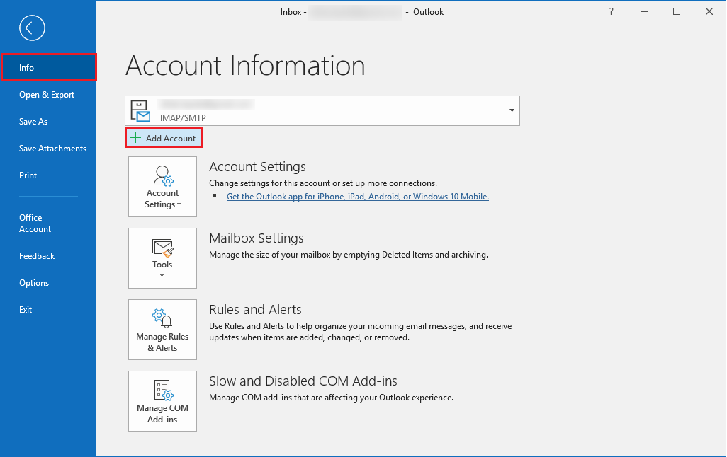 add account for setting up Yahoo mail in Outlook