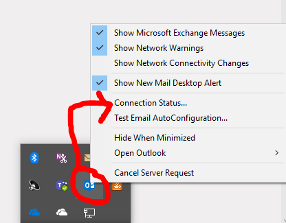 check connection status of outlook inbox