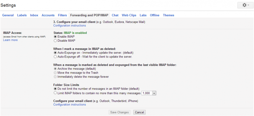 Setup Gmail in Outlook 2013
